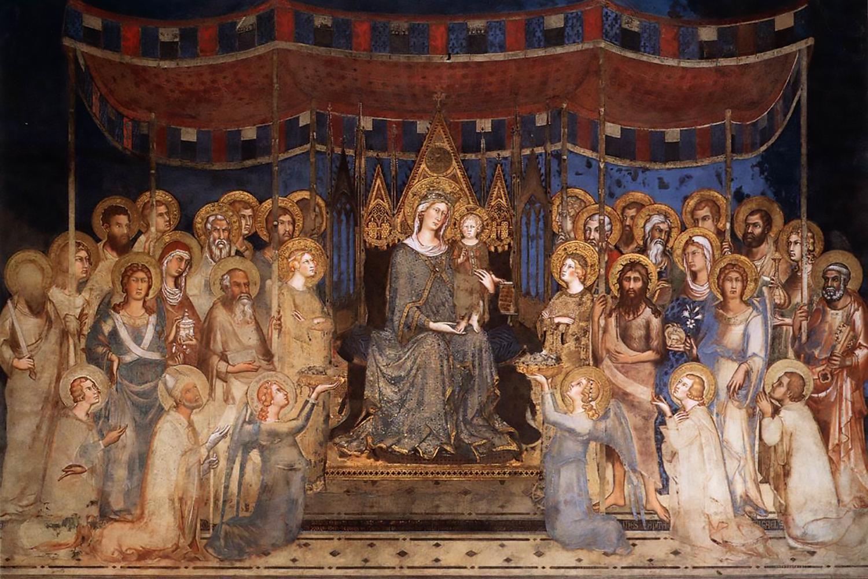 La Maestà di Simone Martini nella sala del Mappamondo. Palazzo Pubblico Siena